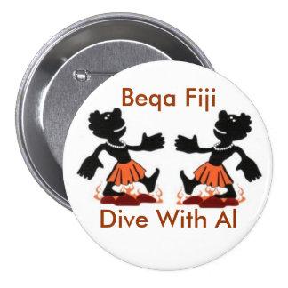 Fiji Native, Beqa Fiji, Dive With Al 3 Inch Round Button