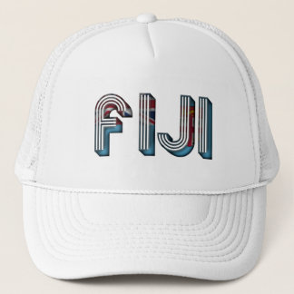 Fiji South Pacific Country Flag Typography Trucker Hat
