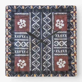 Fiji Tapa Cloth Print Clock