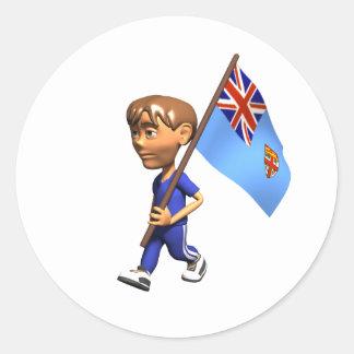 Fijian Boy Classic Round Sticker