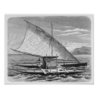 Fijian double canoe from The History of Poster