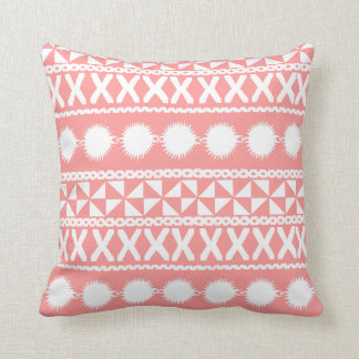 Fijian Masi Print in Coral (Pillow) Throw Pillow