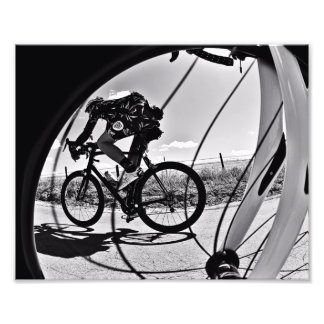 Fikeshot through the wheel in black and white. photographic print