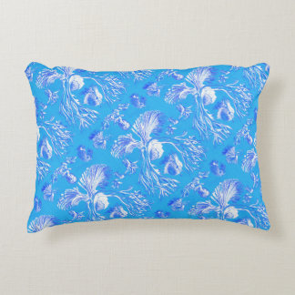 Filicinae on Blue Background Accent Pillow