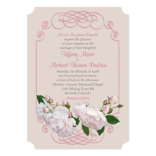 Filigree and Vine Roses Wedding Invitation