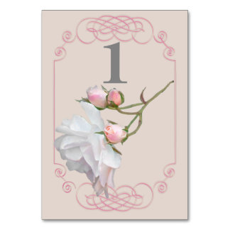 Filigree and Vine Roses Wedding Table Numbers Table Cards