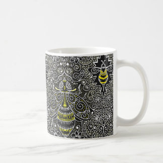 filigree bees coffee mug