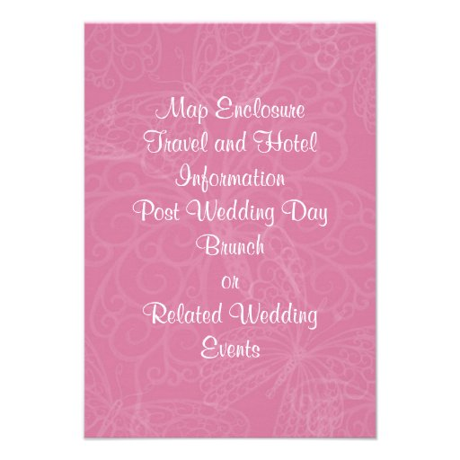 Filigree Butterfly Enclosure Card in Pink Announcements