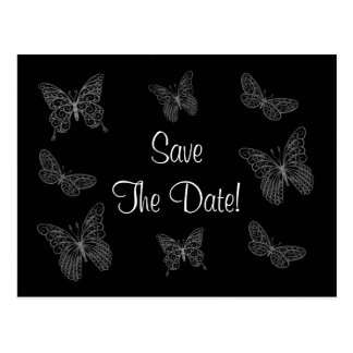 Filigree Butterfly Save the Date Postcard in Black