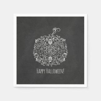 Filigree Chalkboard Fall Pumpkin Autumn Fall Party Disposable Napkin