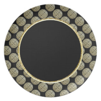 Filigree Circle Design in Gold Color Dinner Plates