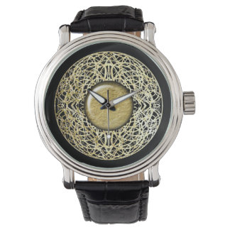 Filigree Circle Design in Gold Color Watches
