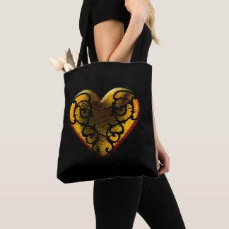Filigree Goth Gold Heart Tote Bag