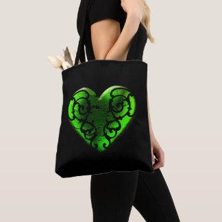 Filigree Goth Green Heart Tote Bag
