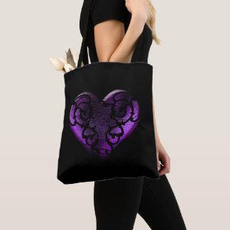 Filigree Goth Purple Heart Tote Bag
