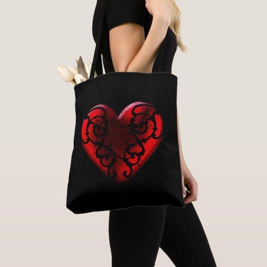 Filigree Goth Red Heart Tote Bag