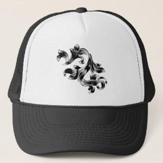 Filigree Heraldic Floral Pattern Scroll Design Trucker Hat