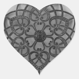 Filigree lacy pattern black metalwork heart sticker