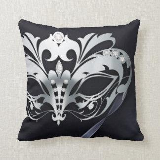Filigree Masquerade Black Reversible Throw Pillow