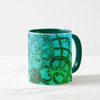 Filigree pattern colourful metalwork mug