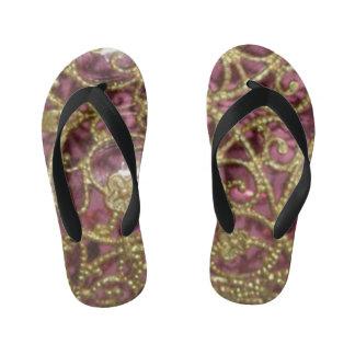 Filigree print pattern kid's flip flops