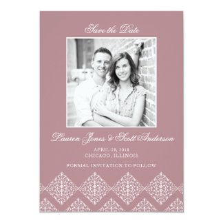 Filigree Save the Date Photo Card - Dusty Rose