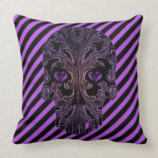 Filigree Skull in Shades of Purple Throw Pillow
