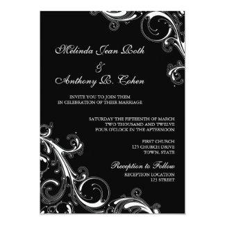 "Filigree Swirl Black w/White 5x7 Wedding 5"" X 7"" Invitation Card"