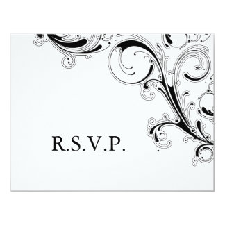 Filigree Swirl Black/White RSVP Card