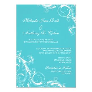 Filigree Swirl Blue Curacao Card
