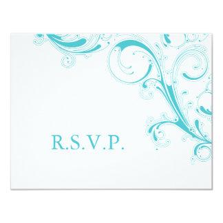 Filigree Swirl Blue Curacao RSVP Card