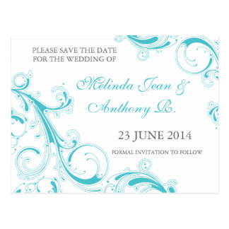Filigree Swirl Blue Curacao Save the Date Postcard
