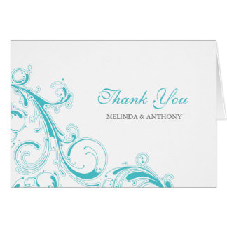 Filigree Swirl Blue Curacao Thank You Card