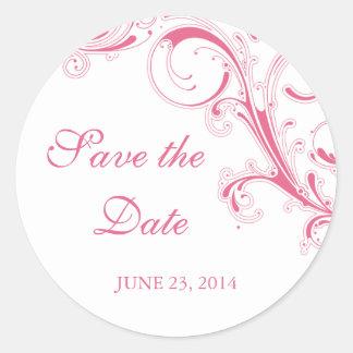Filigree Swirl Honeysuckle Pink Save the Date Round Sticker