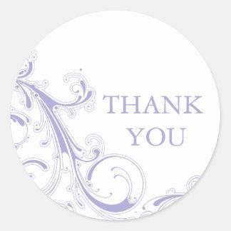 Filigree Swirl Lavender Round Sticker