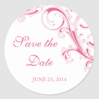 Filigree Swirl Pink Save the Date Round Sticker