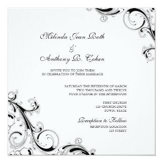 """Filigree Swirl White w/Black Square Wedding 5.25"""" Square Invitation Card"""