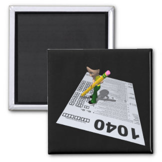 Filing Taxes Square Magnet