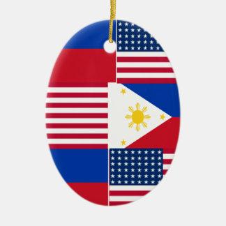 FILIPINO-AMERICAN CERAMIC OVAL ORNAMENT