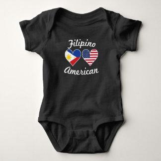 Filipino American Flag Hearts Baby Bodysuit