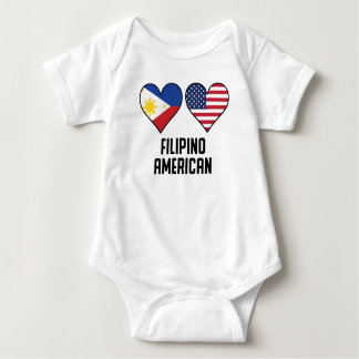 Filipino American Heart Flags Baby Bodysuit