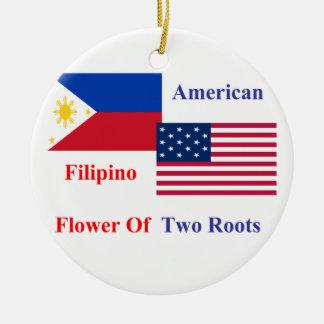 Filipino-American Round Ceramic Ornament