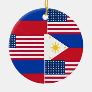 FILIPINO-AMERICAN ROUND CERAMIC ORNAMENT