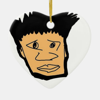 filipino boy  cartoon face collection ceramic heart ornament