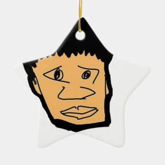 filipino boy  cartoon face collection ceramic star ornament