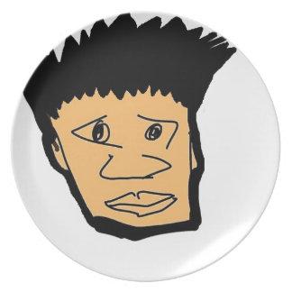 filipino boy  cartoon face collection plate