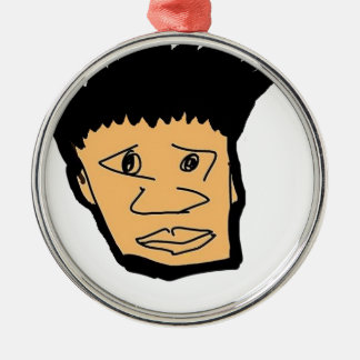 filipino boy  cartoon face collection Silver-Colored round ornament