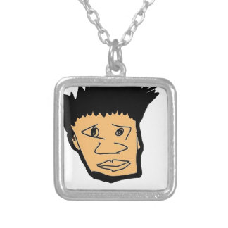 filipino boy  cartoon face collection silver plated necklace