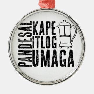 Filipino Breakfast Almusal Essential Series Silver-Colored Round Ornament