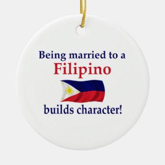 Filipino Builds Character Round Ceramic Ornament